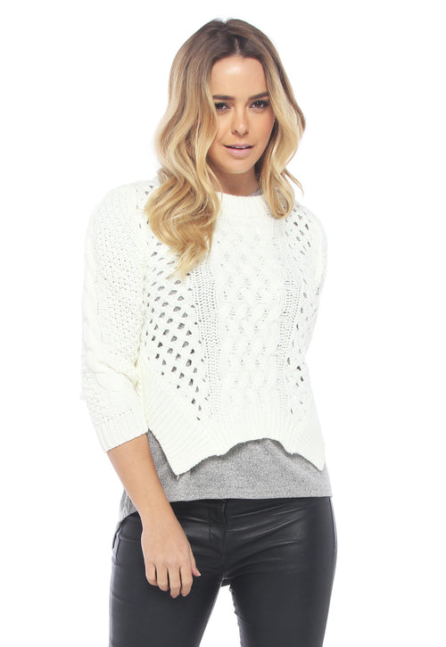 Cable Knit Cream Jumper - THE OUT LANE