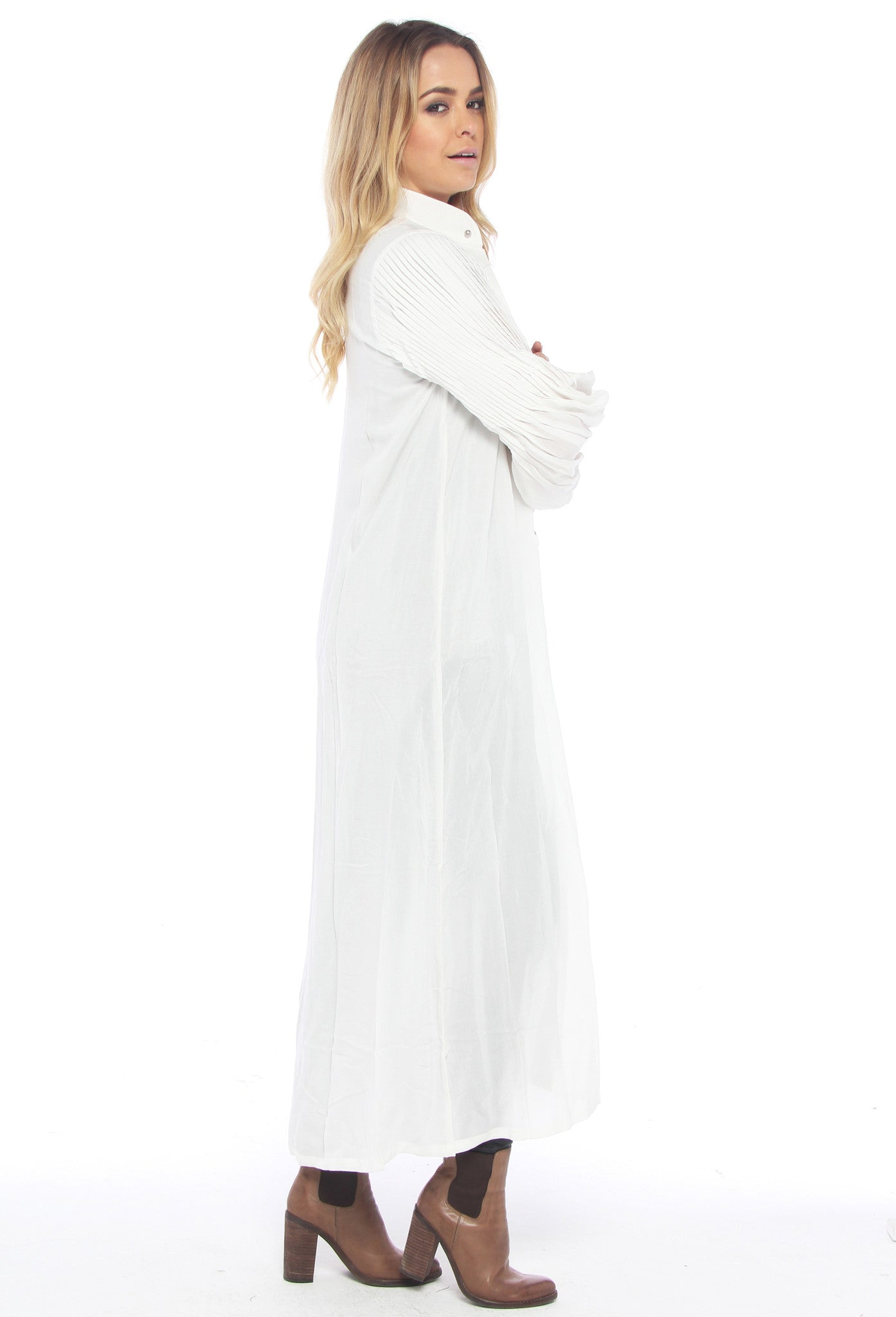 State of Georgia Pintuck Shirt Dress - White - THE OUT LANE