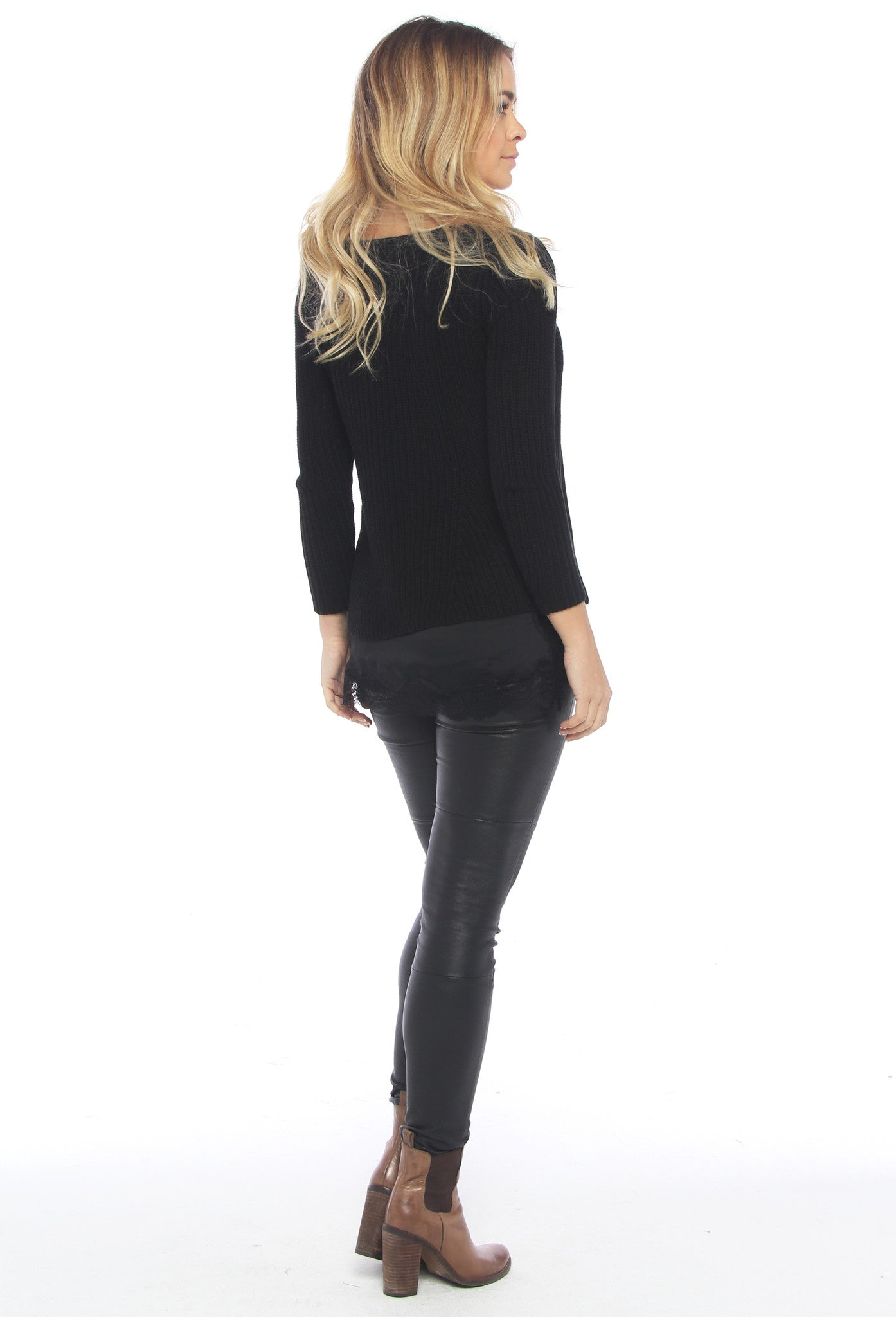 Slim Long Sleeve Knit Top - Black - THE OUT LANE