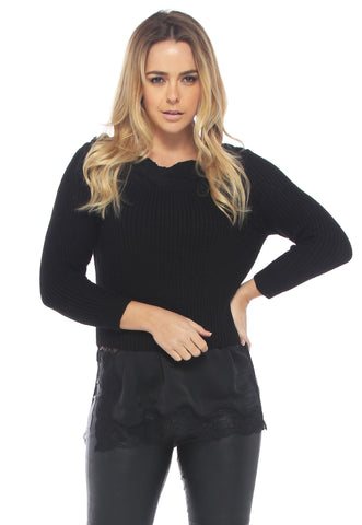 Monochrome Grid Crop Sweater