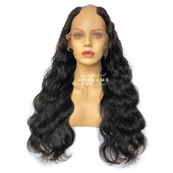 Ebony Affordable Human Hair Wig Body Wave U Part