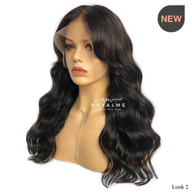 Davina Black Wig With Bangs Human Hair Bleached Knots