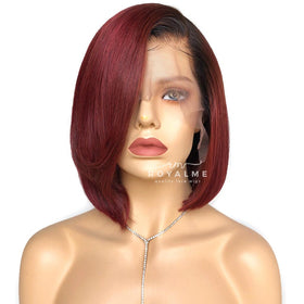 Flora Burgundy Bob Wig Short Haircut Human Hair