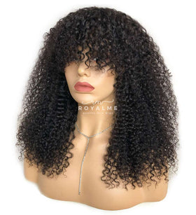 Sasha Curly Wig With Bangs Natural Black Color