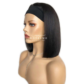 Finley Human Hair Head Band Wigs Yaki Bob Short Hair