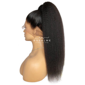 Kiera Long Ponytail Extension Kinky Straight Natural Black And Colored Hair