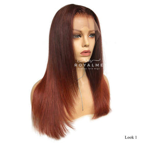 Emelia Long Red Wig Straight Human Hair Pre-Bleached