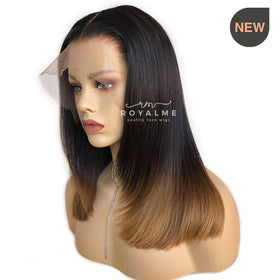 Dalia Natural Wigs Blunt Cut With Layers Brown Ombre Ends