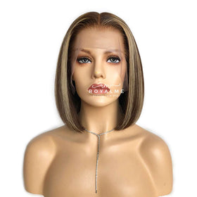 Vivica Short Bob Lace Front Wig Brown Hair With Gold Highlights