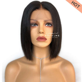 Luna Short Bob Wigs Human Hair Glueless T Part Lace Wig