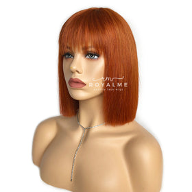 Amber Short Wig With Bangs Chic Carrot Hair Color