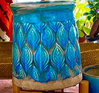Teal and Blue Terra Cotta Pot