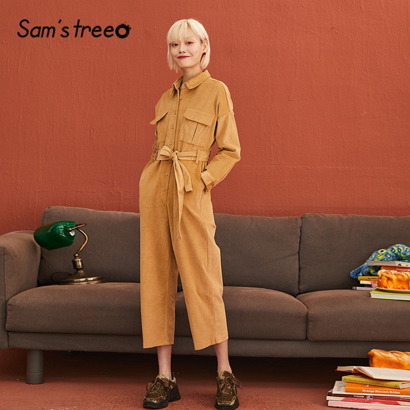 SAM'S TREE Blue Solid Corduroy Single Button Straight Cargo Women Jumpsuits 2019 Winter Khaki Belted Pocket Female Overalls