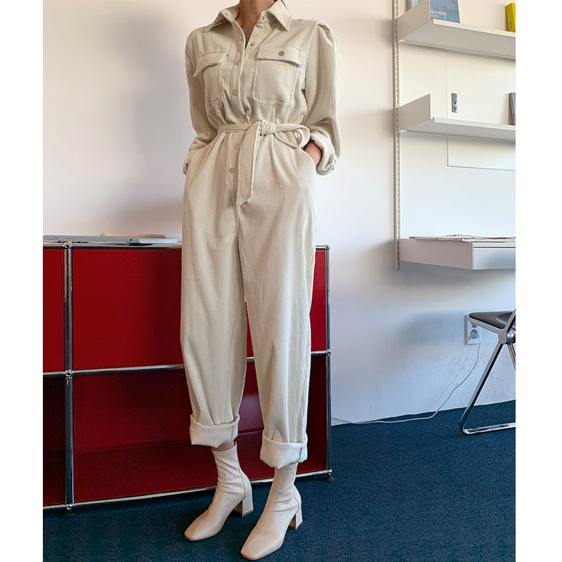 Spring 2020 Corduroy Jumpsuits Romper Women High Fashion Button Jumpsuit Female Casual Overalls