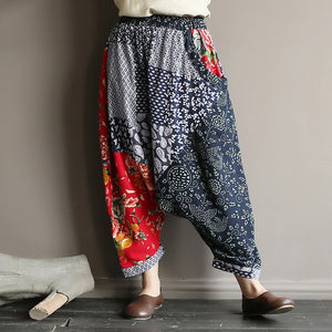 Original folk style women's retro stitching old cotton and linen material shift pants women loose large size baggy pants
