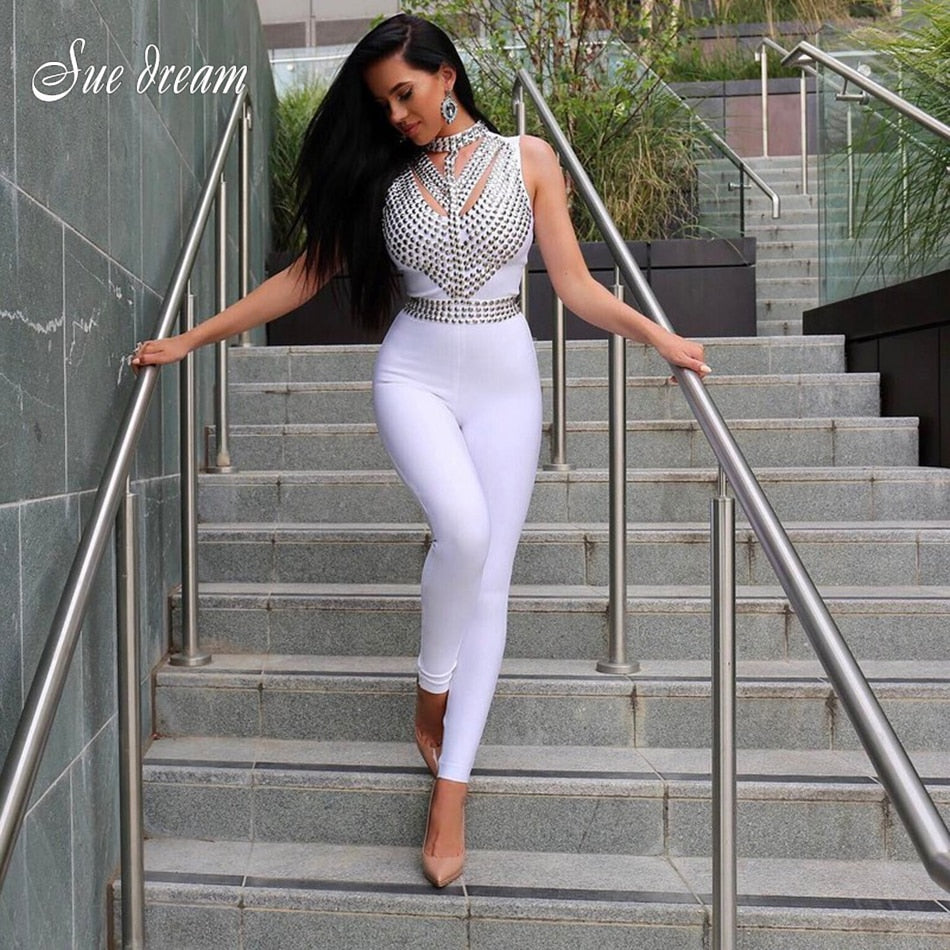 2019 Autumn New Women Sleeveless Turtleneck Neck Bandage Jumpsuit Sexy Bodycon Beading Celebrity Party White Jumpsuits Vestidos