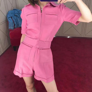 2020 Spring New Women'S Short Sleeve Fashion Multi-Pocket Design Was Thin Belt Jumpsuit Pink Green Bodycon Club Party Jumpsuit