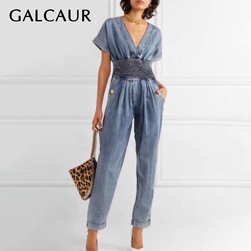 GALCAUR Korean Patchwork Hit Color Women's Jumpsuit Short Sleeve High Waist Tunic Female Jumpsuits 2020 Spring Fashion Clothes