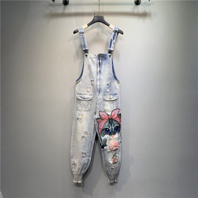 MUMUZI Fashion heavy work beaded sequins jeans flower cute kitten hole denim jumpsuit cartoon strapless overalls pants