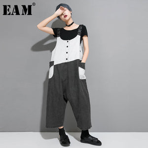 [EAM] 2020 New Spring Autumn High  Waist Hit Color Pocket Split Joint Loose Pants Women Jumpsuits Trousers Fashion Tide JW082