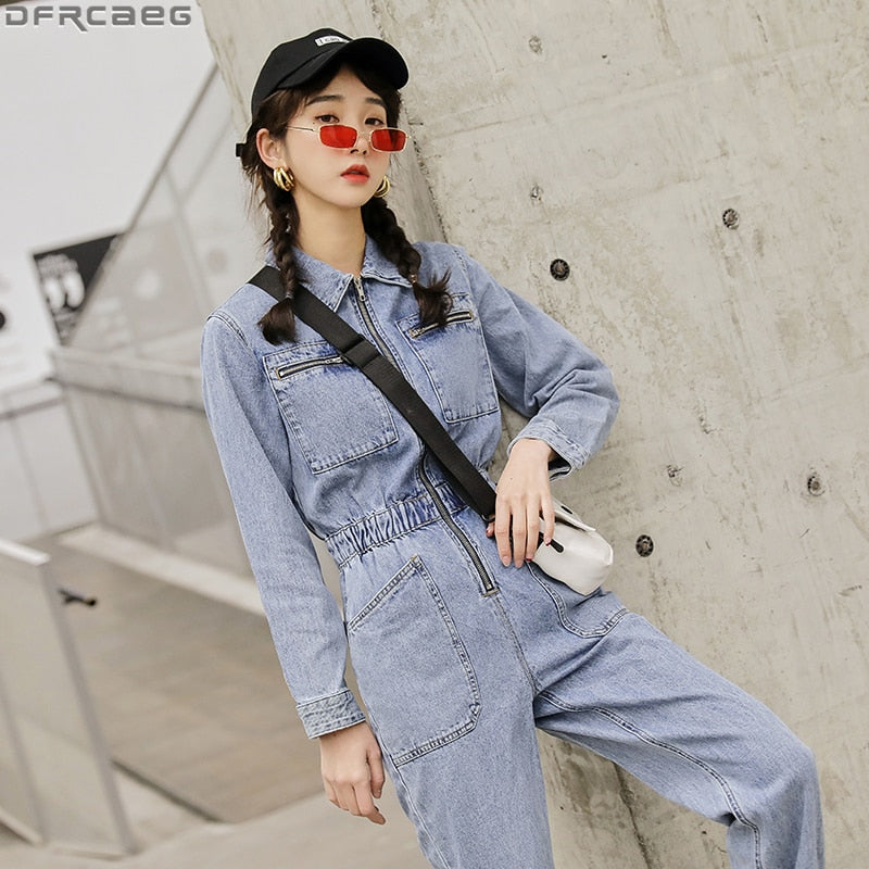 Fashion Streetwear Long Sleeve Denim Overalls Women Elastic High Waist Tunic Bodycon Rompers Zipper Big Pockets Jeans Jumpsuit