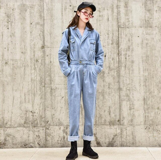 Blue Elegant BF Streetwear Women Denim Jumpsuit Pants 2020 Autumn Long Sleeve High Waist Retro Jeans Overalls Rompers Female