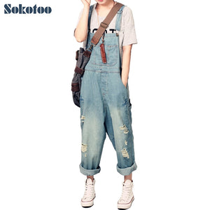 Sokotoo Women's casual loose denim overalls Lady's oversized hole ripped baggy jeans Wide leg pants for woman