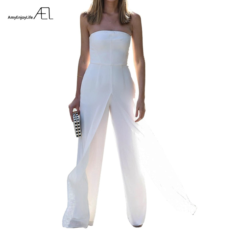 AEL Strapless Bra Chiffon Loose Wide Leg Jumpsuits 2017 Summer Ladies Elegant Slim Bodysuit Top Rompers fashion clothing