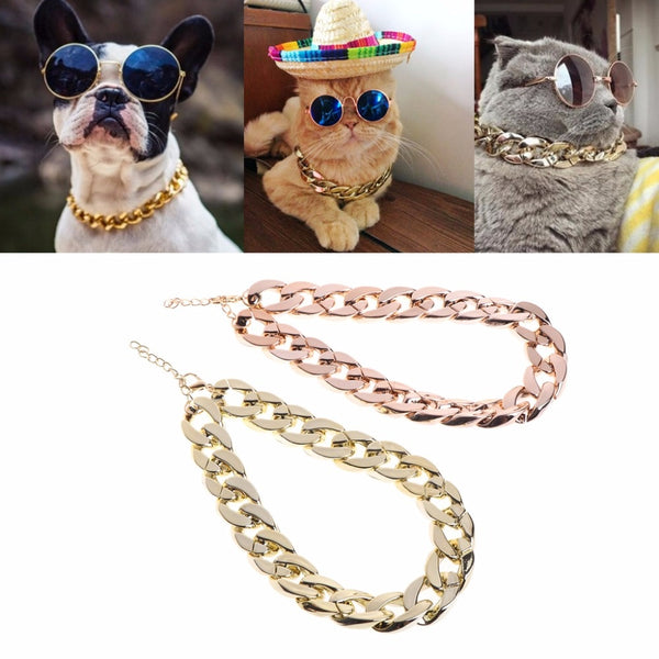 Fashion Dog Necklace Collars Thick Gold Chain Plated Plastic