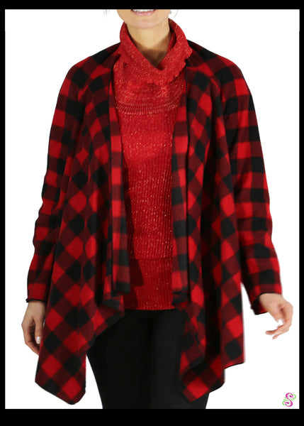 LeeLoo Multi-Sweater: Fleece, Buffalo Plaid, Red