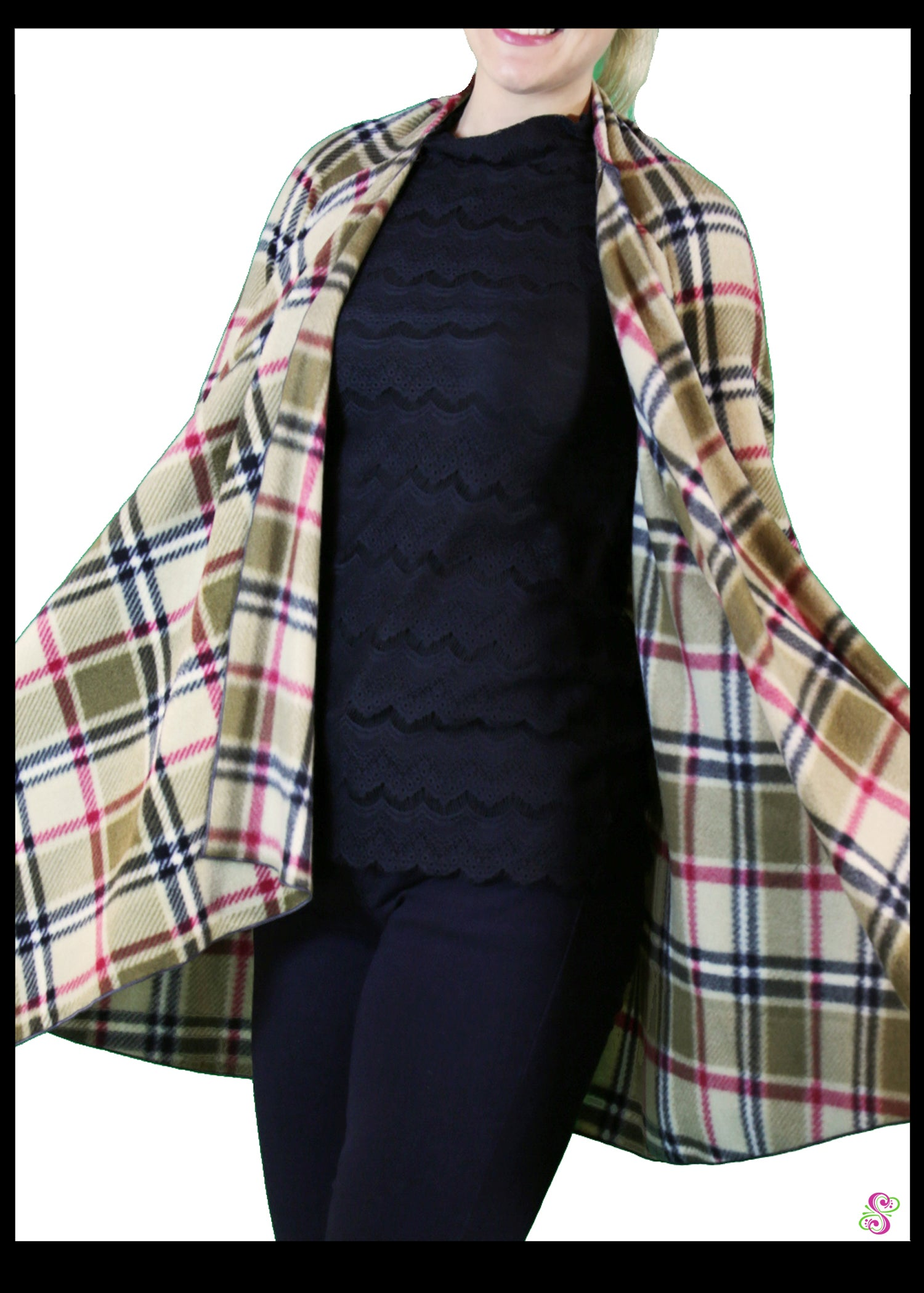 LeeLoo Multi-Jacket: Fleece, London Plaid, Camel