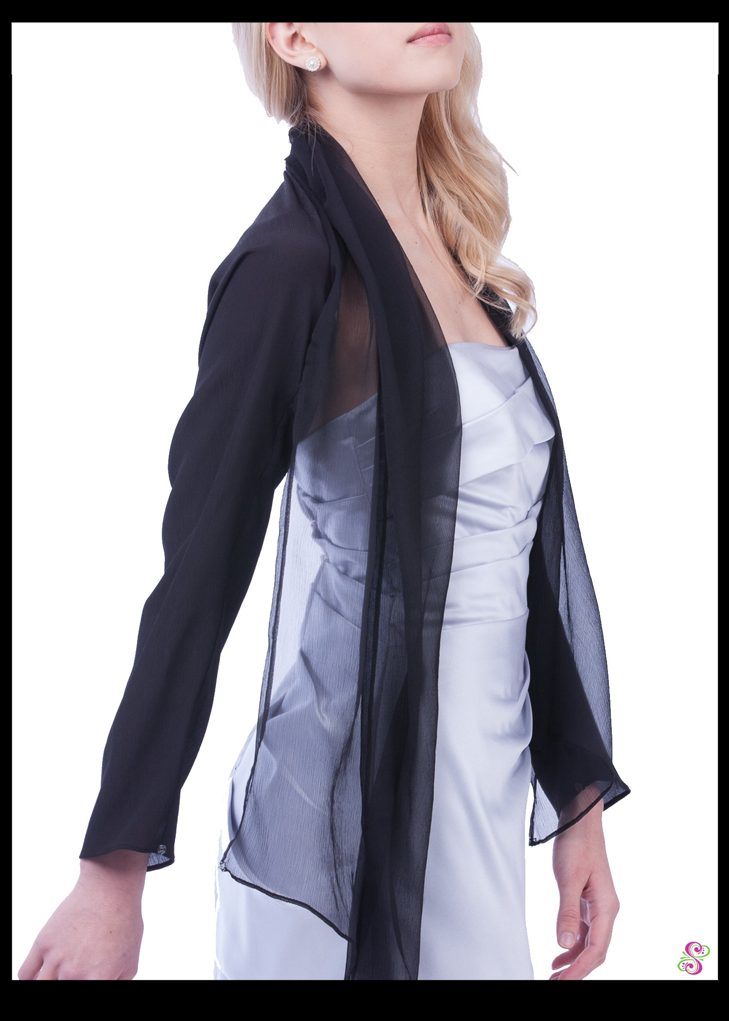Audrey Cocktail Cape, 100% Silk, Black