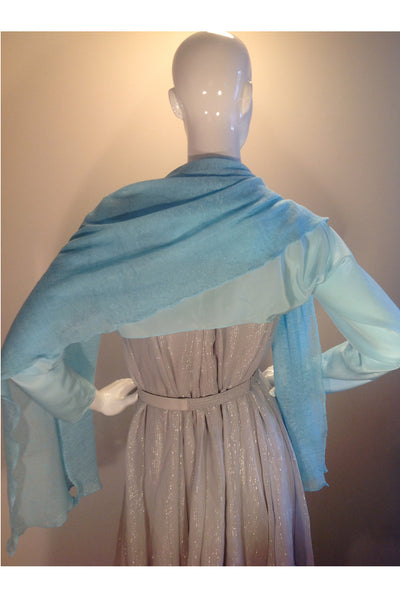 Web Only: Cocktail Cape, 100% Silk and Cotton Knit, Powder Blue