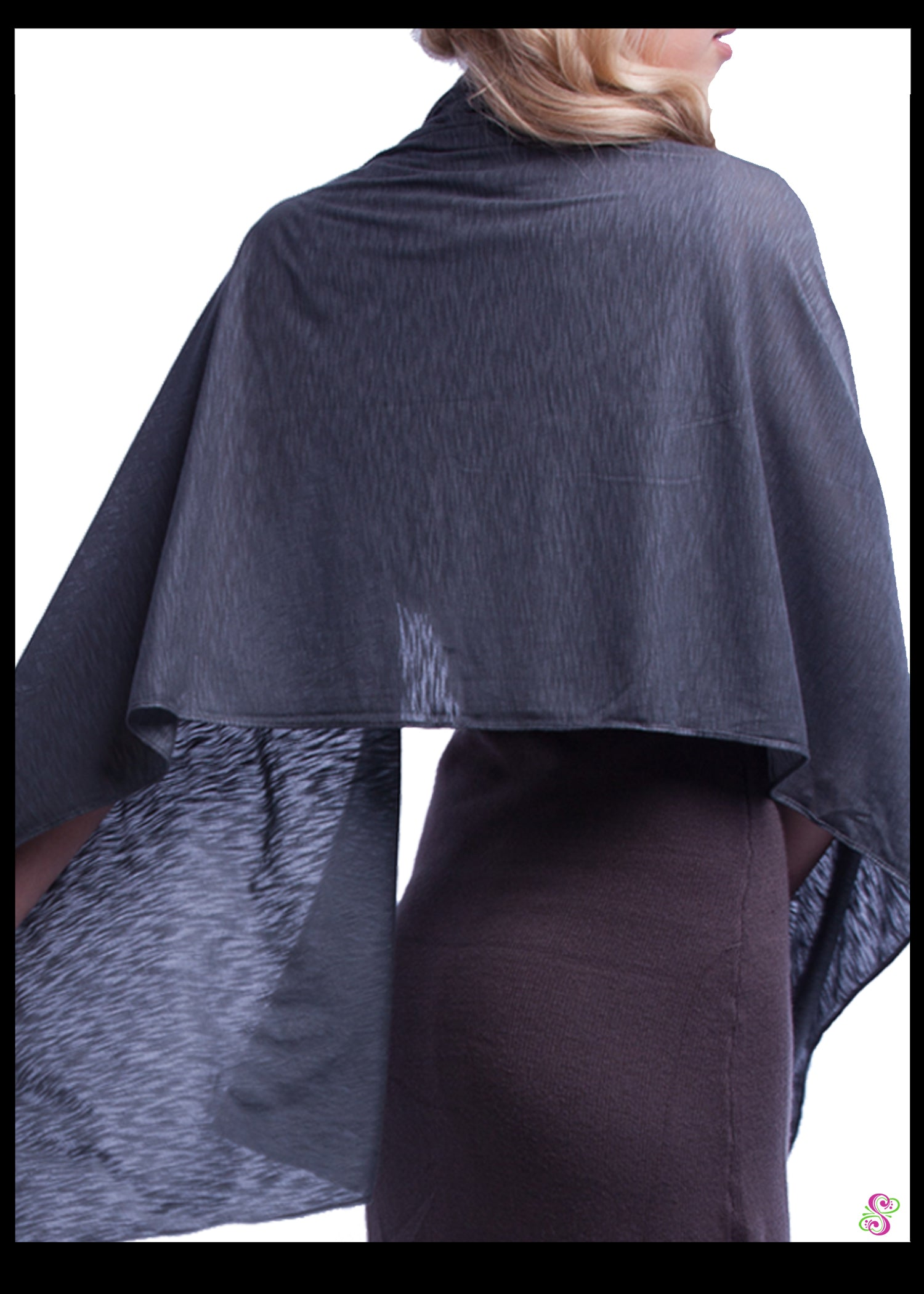 Carrie City Shawl, Devoré Viscose, Grey