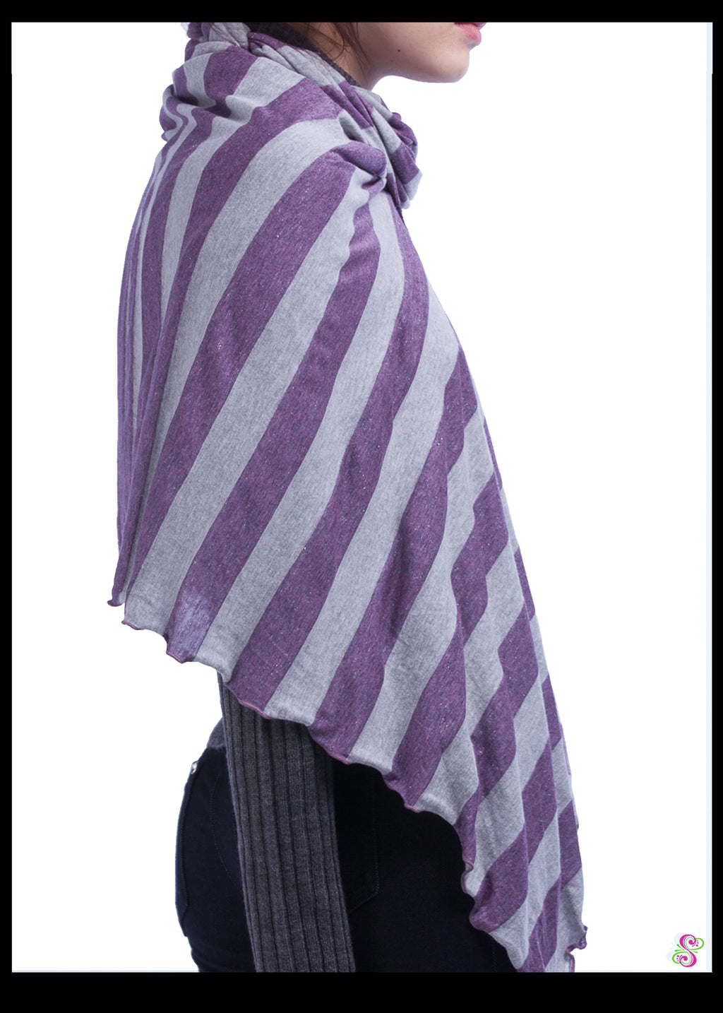 Carrie City Shawl, Viscose, Purple & Grey with silver sparkle