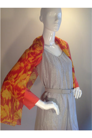 Web Only: Cocktail Cape, 100% Silk Coral & Red/Yellow Print