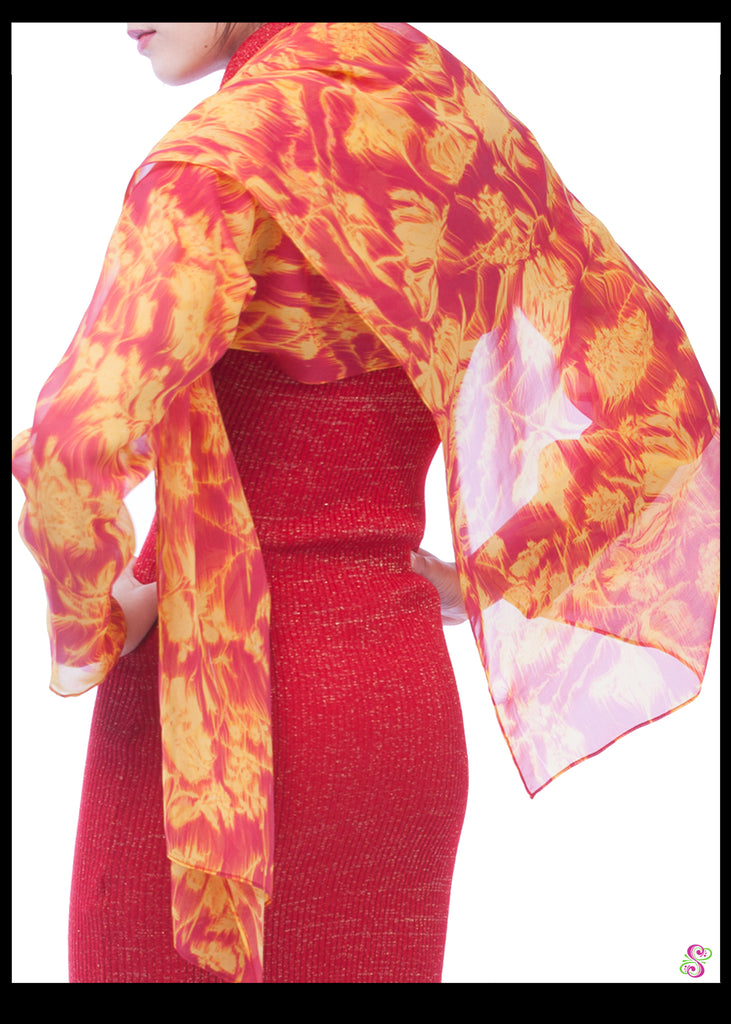 Emma Cocktail Cape, China Silk, Flame burst print