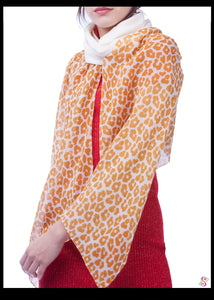 Emma Cocktail Cape, 100% Silk, Leopard Print, Cream White Sleeves