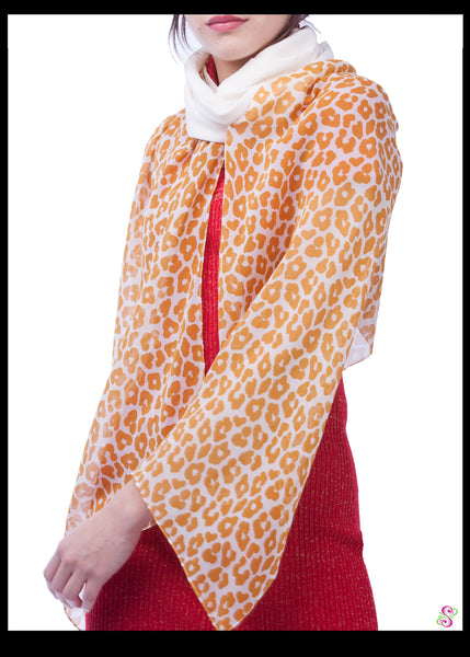 Cocktail Cape, 100% Silk, Leopard Print, Cream White Sleeves