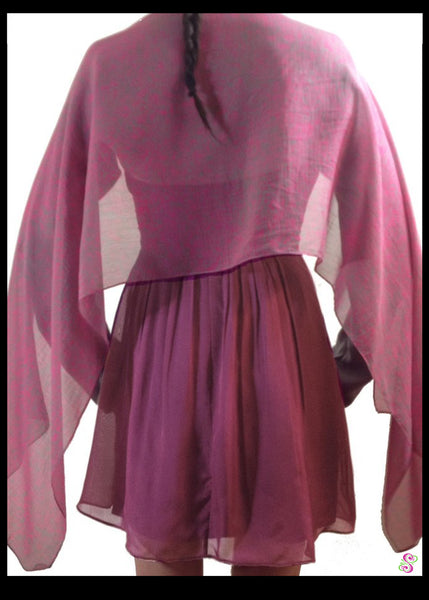 Emma Cocktail Cape, 100% Silk, Pink and Grey, two tone