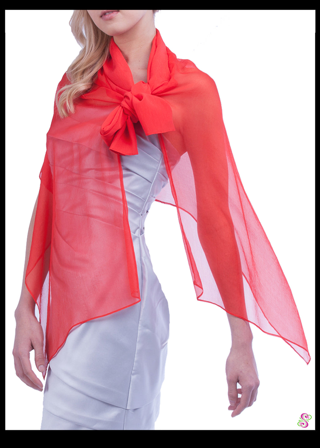Audrey Cocktail Cape, 100% Silk, Poppy Red