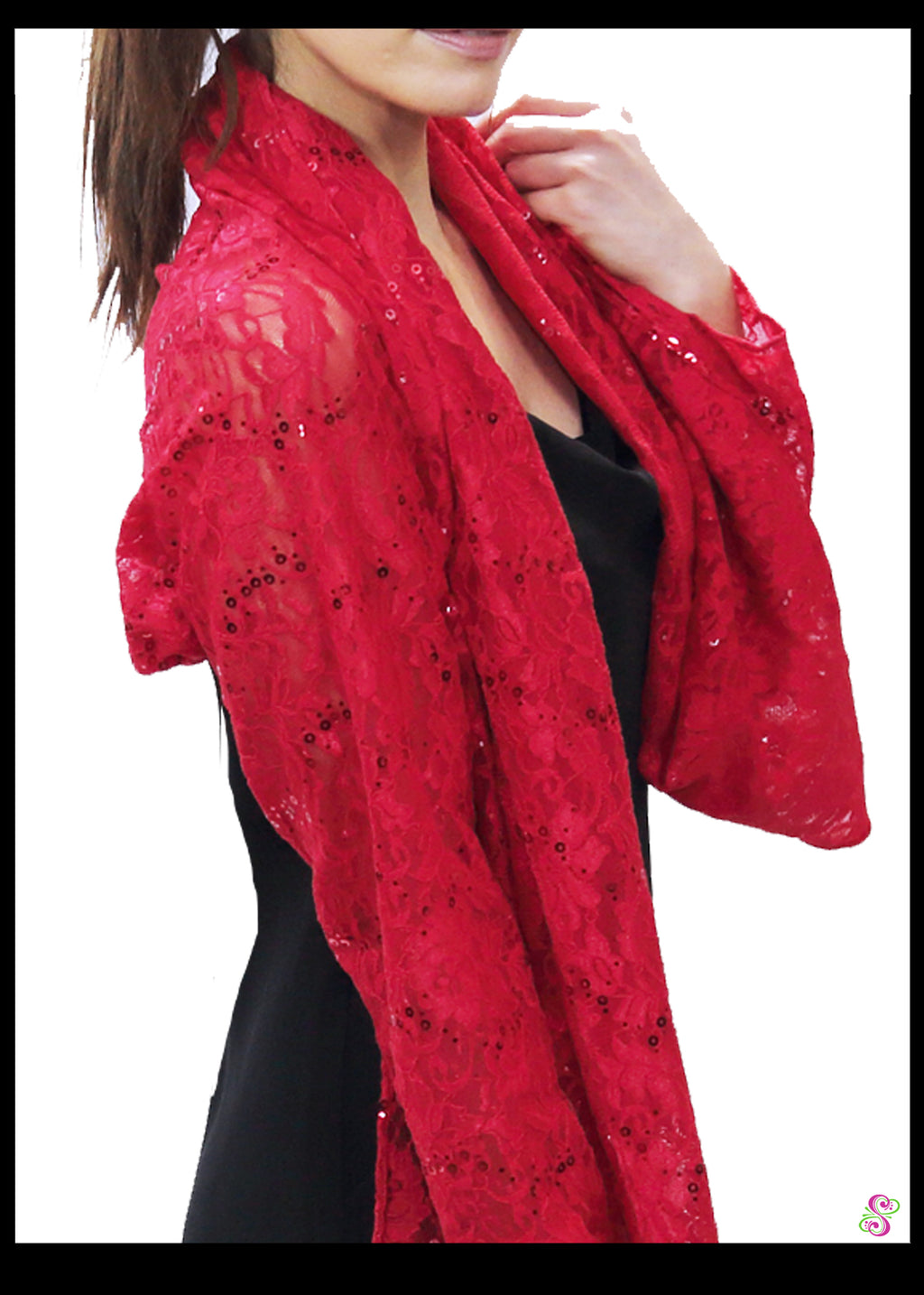 Audrey Cocktail Cape, Heartfelt Red w/sequins