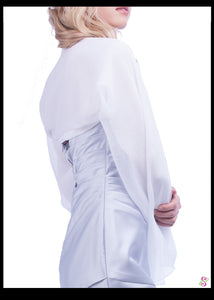 Audrey Cocktail Cape, 100% Silk, Pure White