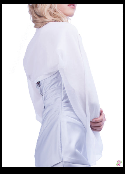 Cocktail Cape, 100% Silk, Pure White