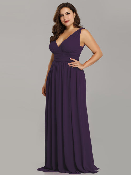 Veda V neck and back classic chiffon bridesmaid dress in dark purple s8, s10-Bay Bridesmaid