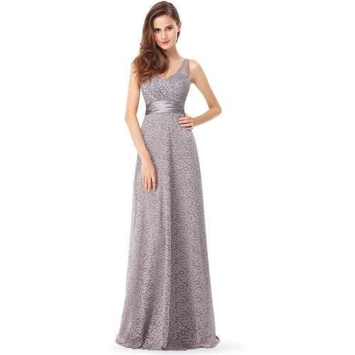 Brenda corset back full lace ball dress in grey s16-Bay Bridesmaid