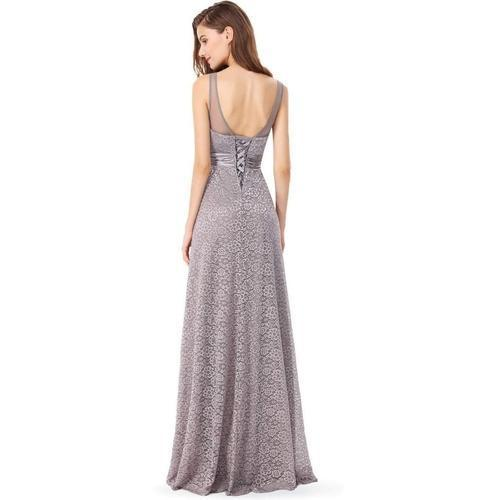 Brenda corset back full lace ball dress in grey s14-Bay Bridesmaid