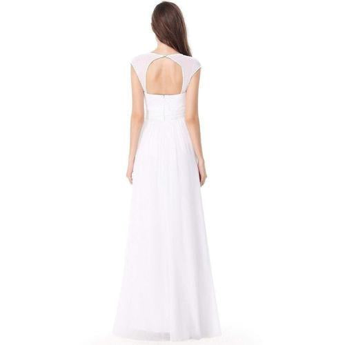Tina chiffon wedding gown with cut out back and bling in white s14, s16-Bay Bridesmaid