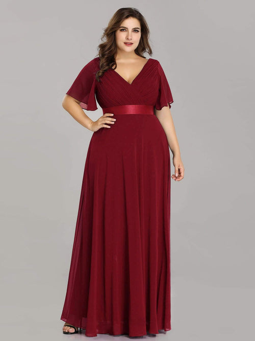 Billie flutter sleeve v neck chiffon bridesmaid dress in burgundy red s22-Bay Bridesmaid