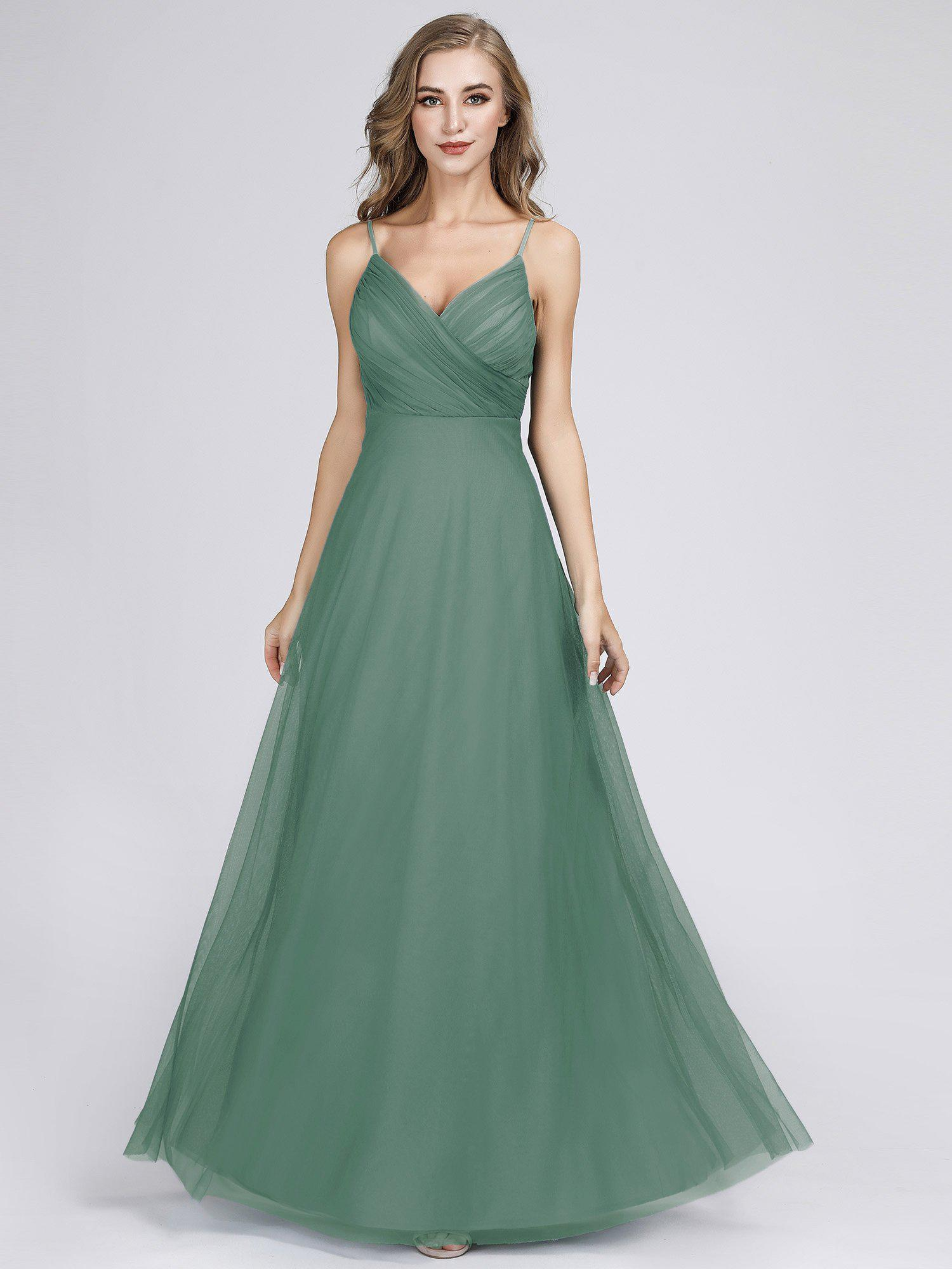 Mali spaghetti strap tulle bridesmaid dress in dusky green s8-Bay Bridesmaid